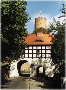 W tle wieża zamku Joannitów w Łagowie