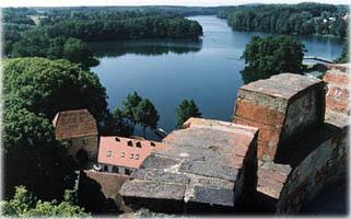 Panorama z wieży zamku zakonnego w Łagowie